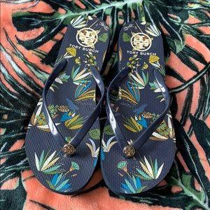 TORY BURCH Navy Blue Flip Flops Size 9